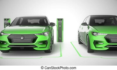 Row of green modern electric self driving cars charging. Seamless loop front. 4K
