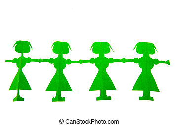 Row of green paper dolls