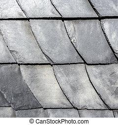 row of grey roof slate