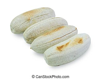 Row of Grilled Bananas on White Background