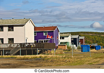 Row of houses - A row of houses in the town of Inuvik, NWT, ...
