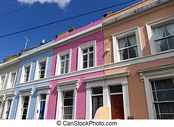 Row of houses in Notting Hill London UK