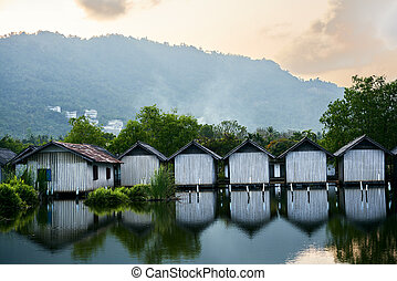 Row of houses on the river