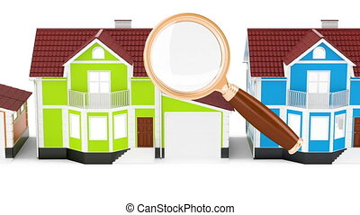 Row of houses with magnifier, animation. 3D rendering
