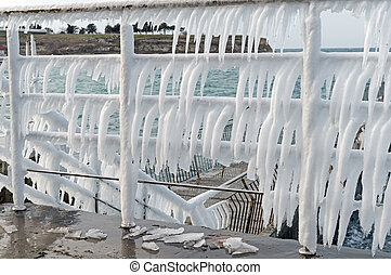 Row of icicles on the Chromium metal fence