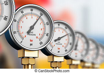 Row of industrial high pressure gas gauge meters - Creative...