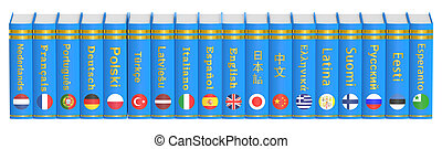 Row of Languages Books, 3D rendering