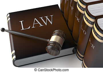 Row of leather law books on - 3d Judges gavel and law books