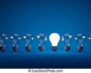 Row of light bulbs on blue background