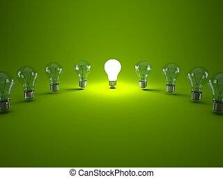 Row of light bulbs on green background