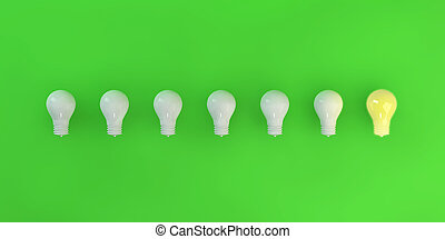 Row of Light Bulbs with One Lit Up