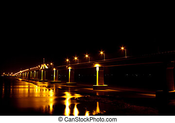 Row of light on the bridge