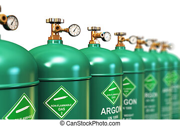 Row of liquefied argon industrial gas containers