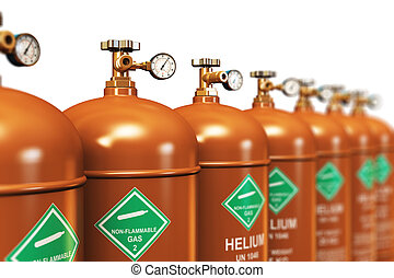 Row of liquefied helium industrial gas containers