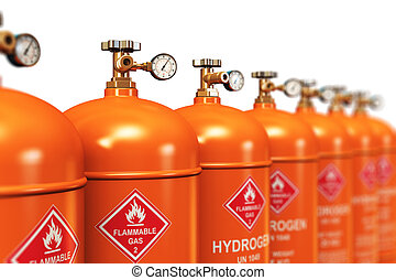 Row of liquefied hydrogen industrial gas containers