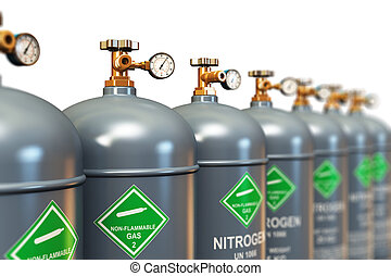 Row of liquefied nitrogen industrial gas containers