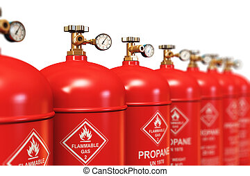 Row of liquefied propane industrial gas containers -...