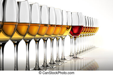 Row of many white wine glasses, with a red one standing out...