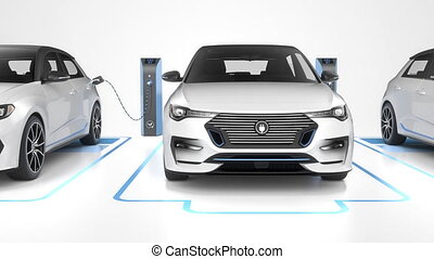 Row of modern electric self driving cars charging. Seamless loop front. 4K