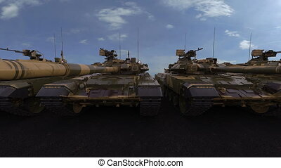 Row of modern main battle tanks. Seamless loop, 4K photorealistic animation