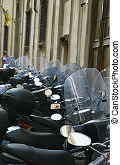 Row of motorcycles.