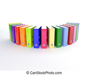 Row of multi-colored office folders on a white background. 3D illustration, render.