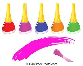 nail polish - row of multicolored nail polish bottles and...