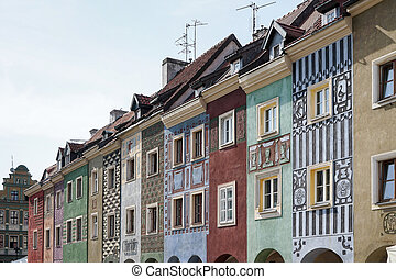 Row of multicoloured houses in Poznan