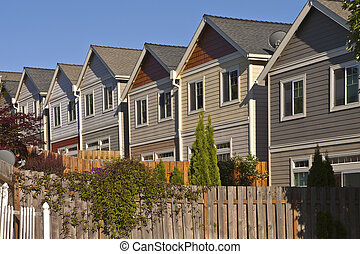 Row of neighborhood houses.