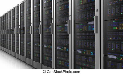 Row of network servers - Endless moving row of network...