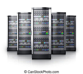 Row of network servers in data center isolated on white background with reflection effect Design is my own and all text labels and numbers are fully abstract