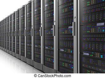 Row of network servers in datacenter room isolated on white...