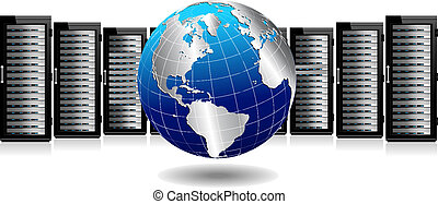 Network Servers with Globe - Row of Network Servers with ...