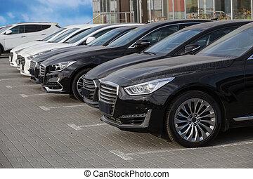 cars parked at a car dealership stock