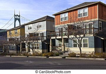 Row of new duplexes homes in St John Oregon.