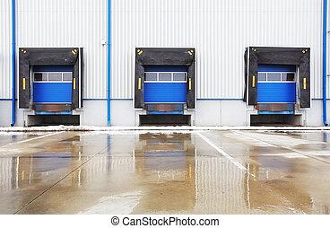 row of old loading docks