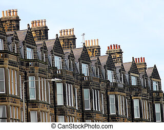 Row of old Victorian town houses
