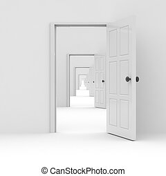 Row of white open doors. Concept of possibilities. Computer generated image.