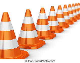 Row of orange traffic cones isolated on white background...