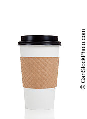 A row of paper coffee cups on a white background