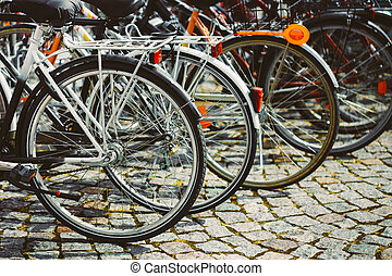 Row Of Parked Bicycles. Bicycle Parking In Big City - Parked...