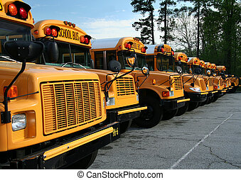 Row of parked public school buses