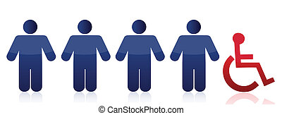 row of people and handicap illustration design over a white background