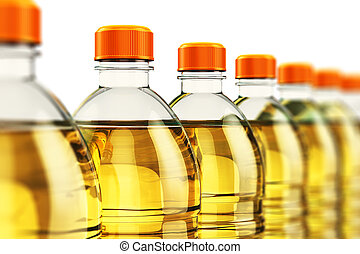 Row of plastic bottles with vegetable cooking oil