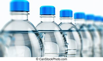 Creative abstract 3D rendered video of the row of plastic bottles with clear purified drink carbonated water isolated on white background with selective focus effect