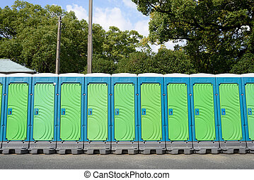 portable toilets - row of portable toilets for outdoor