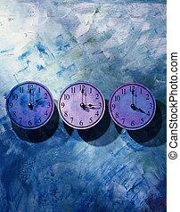 Row of Purple Clocks