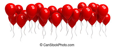 Row of red balloons isolated on white