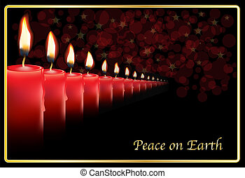 Row of red candles - A row of photo realistic candles on a...