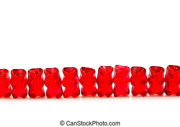 row of red gummy bears